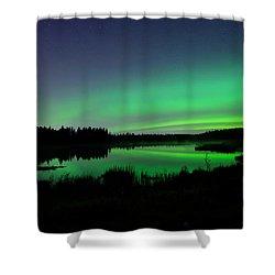 Elk Island Aurora Reflections Shower Curtain