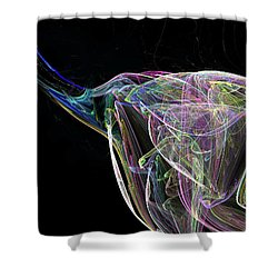 Elle-phant In Black Shower Curtain