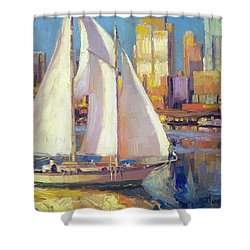 Shower Curtain featuring the painting Elliot Bay by Steve Henderson