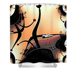 Elliott Bay Ferry Fractal Shower Curtain