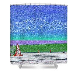 Elliott Bay Sail Shower Curtain by Tim Allen