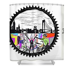 elliptiGO meets the 5 boros bike tour Shower Curtain