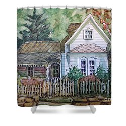 Shower Curtain featuring the painting Elma's Home by Gretchen Allen
