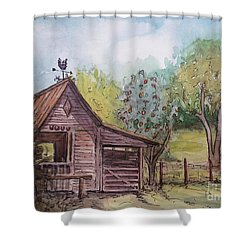 Shower Curtain featuring the painting Elma's Horse Barn by Gretchen Allen