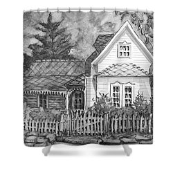 Shower Curtain featuring the painting Elma's House In Bw by Gretchen Allen
