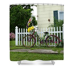 Shower Curtain featuring the digital art Elmer Bicycle by Jana Russon
