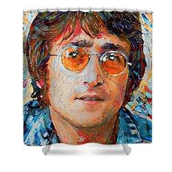 John Lennon Portrait Impasto Shower Curtain