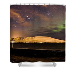 Elv Or Troll And Viking With A Sword In The Northern Light Shower Curtain