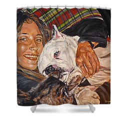 Shower Curtain featuring the painting Elvis And Friend by Bryan Bustard