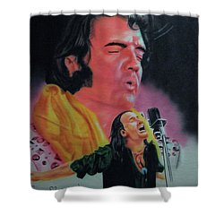 Shower Curtain featuring the painting Elvis And Jon by Thomas J Herring