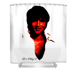 Shower Curtain featuring the mixed media Elvis By Loxi Sibley by Loxi Sibley