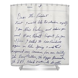 Elvis Presley Letter To President Richard Nixon Shower Curtain