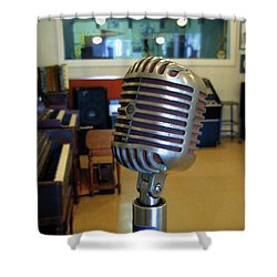 Shower Curtain featuring the photograph Elvis Presley Microphone by Mark Czerniec