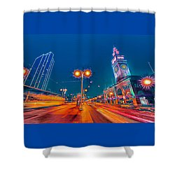 Shower Curtain featuring the photograph Embarcadero Lights by Steve Siri