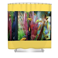 Shower Curtain featuring the digital art Embossed Fishies by Ellen Barron O'Reilly
