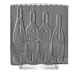 Embossed Wine Bottles Shower Curtain by Donna Bentley