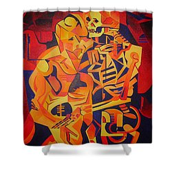 Embracing Death Shower Curtain by Tracey Harrington-Simpson