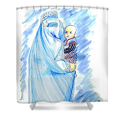 Embroidered Blue Lady-cage -- Woman In Burka Shower Curtain