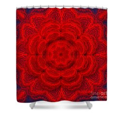 Embroidery Art - Floral Red By Rgiada Shower Curtain by Giada Rossi