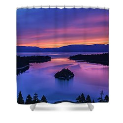 Emerald Bay Clouds At Sunrise Shower Curtain by Marc Crumpler