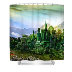 Emerald City Shower Curtain by Mary Hood