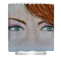 Emerald Eyes And Freckles Shower Curtain by Kelly Mills