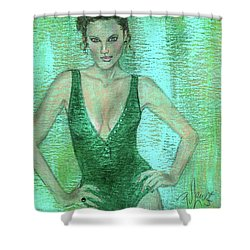 Shower Curtain featuring the painting Emerald Greem by P J Lewis