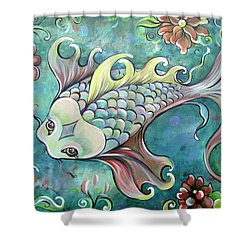 Emerald Koi Shower Curtain