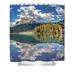 Emerald Lake Panorama Shower Curtain