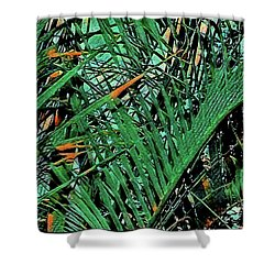 Shower Curtain featuring the digital art Emerald Palms by Mindy Newman