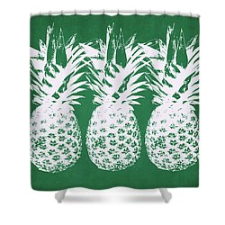 Shower Curtain featuring the mixed media Emerald Pineapples- Art By Linda Woods by Linda Woods