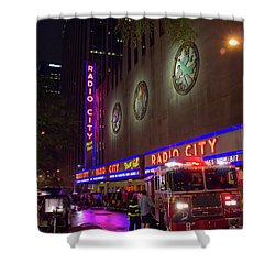 Shower Curtain featuring the photograph Emergency At Radio City by RKAB Works