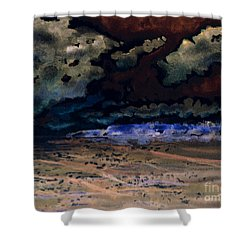 Shower Curtain featuring the painting Emerging Darkness by Reed Novotny
