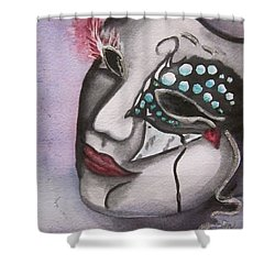 Shower Curtain featuring the painting Emerging Frenzy by Teresa Beyer