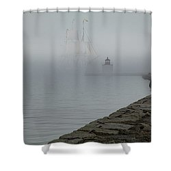 Shower Curtain featuring the photograph Emerging From The Fog by Jeff Folger
