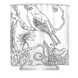 Emerson Quote Bird Nature Zentangle Art Shower Curtain