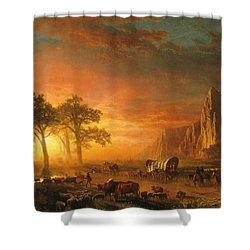 Shower Curtain featuring the photograph Emigrants Crossing The Plains - 1867 by Albert Bierstadt