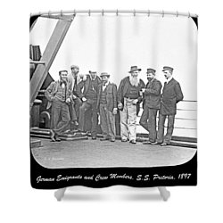 Shower Curtain featuring the photograph Emigrants Passangers And Crew Members On Deck Of Ss Pretori by A Gurmankin