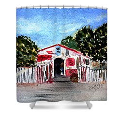 Shower Curtain featuring the painting Emiles Road Side Grocer by Donna Walsh
