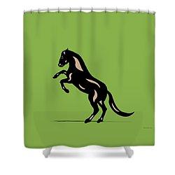 Emma - Pop Art Horse - Black, Hazelnut, Greenery Shower Curtain by Manuel Sueess