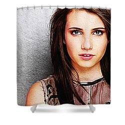 Emma Roberts Shower Curtain by Iguanna Espinosa