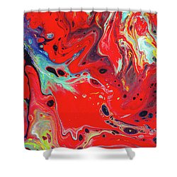 Emotional Soul - Red Abstract Canvas Painting Shower Curtain