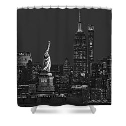 Shower Curtain featuring the photograph Empire State And Statue Of Liberty II Bw by Susan Candelario