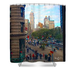 Shower Curtain featuring the photograph Empire State Building - Crackled View 2 by Madeline Ellis