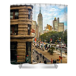Shower Curtain featuring the photograph Empire State Building - Crackled View 3 by Madeline Ellis