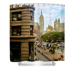 Shower Curtain featuring the photograph Empire State Building - Crackled View by Madeline Ellis