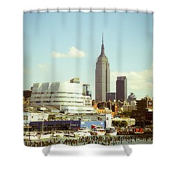 Empire State Building From Hudson Shower Curtain by Perry Van Munster