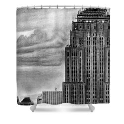Empire State Building New York Pencil Drawing Shower Curtain