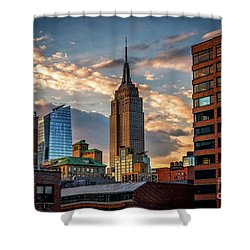 Empire State Building Sunset Rooftop Shower Curtain
