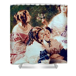 Empress Eugenie And Her Ladies In Waiting Shower Curtain by Franz Xaver Winterhalter